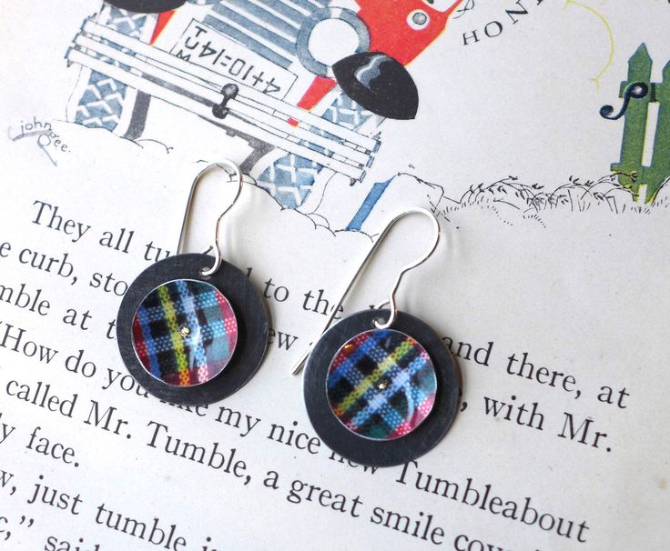 Plaid Tin Earrings, Light Weight Discs, Sterling Ear Wires, Tenth Anniversary by eaststreettins on Etsy