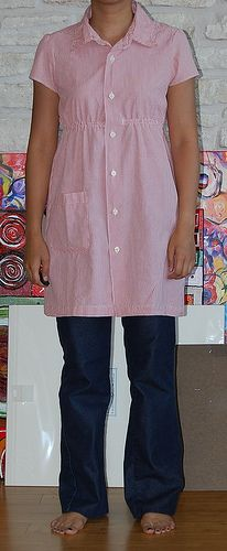 Short sleeved tunic dress with pocket and elastic empire waist  Men's Shirt Refashion