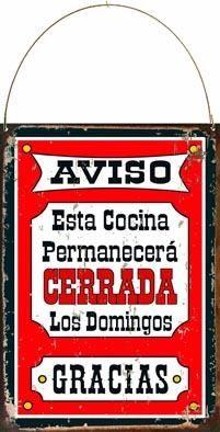 Cartel De Chapa Vintage Cocina Cerrada L303 - $ 95,00
