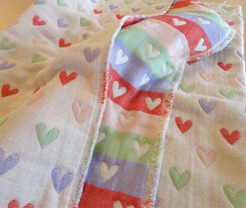 Hearts blanket soft baby blanket gauze blanket muslin by AYU123