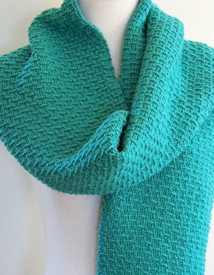 Knitting Pattern for 4-Row Slip Stitch Scarf - This easy scarf consists of an...