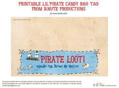 bnute productions: Free Printable LilPirate Loot Bag Label