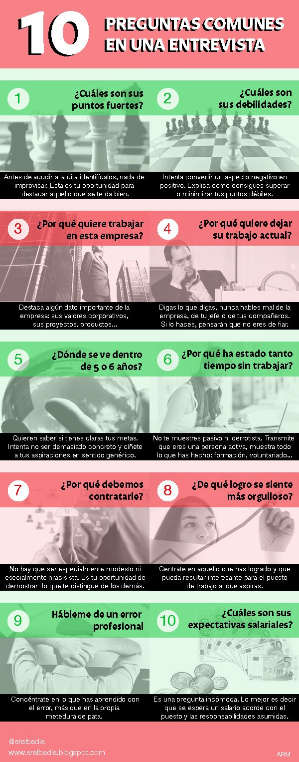10 preguntas comunes en las entrevistas de trabajo ~ ESPAI DE RECERCA ACTIVA DE FEINA