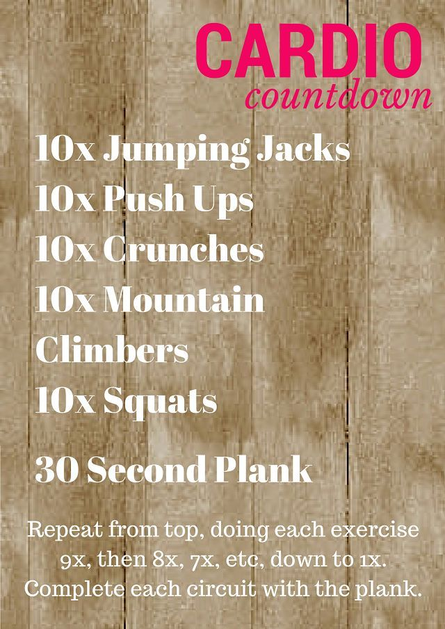 Countdown Cardio Workout- looks easy, but burns those calories!