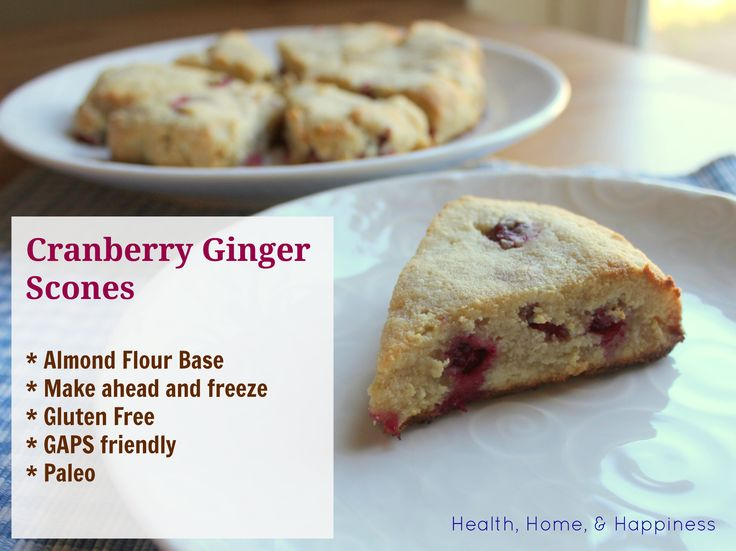 Almond flour cranberry-ginger scones. These are great to make ahead of ...