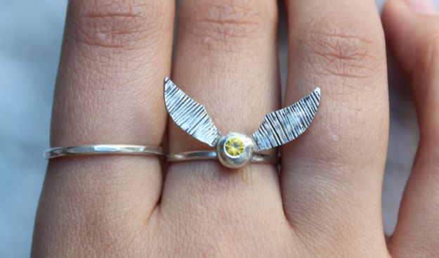 34 Impossibly Clever Pieces Of Jewelry Inspired By Books // Harry Potter ring ($48).