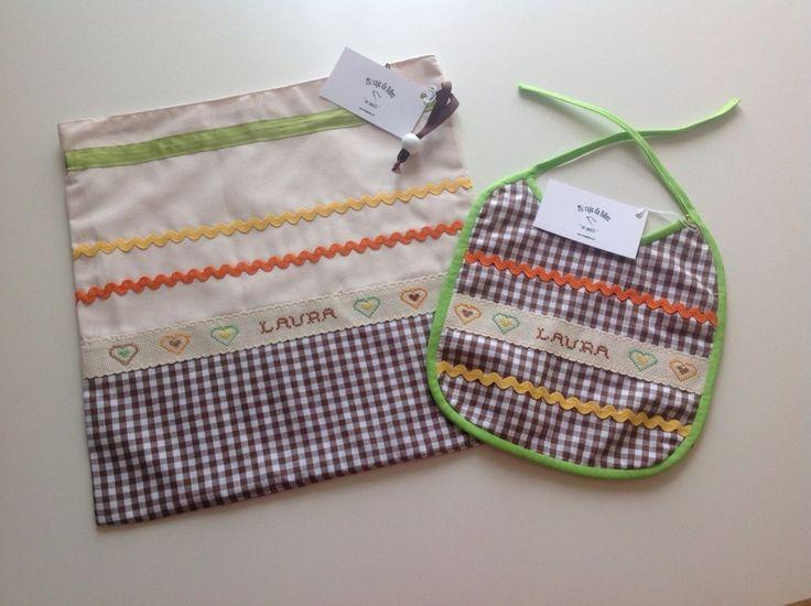 Conjunto de bolsa de guardería y babate. von Mi Caja de Hilos auf DaWanda.com