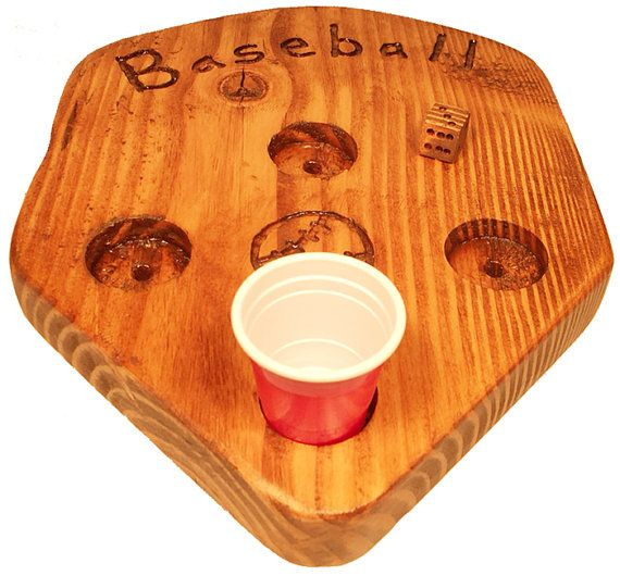 The brand NEW Baseball drinking game. Roll the dice to see what you hit and move the shot around the board to score runs/drinks!