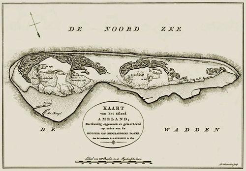 Vintage kaart van Ameland