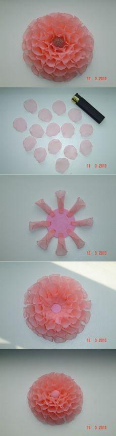 Хризантема из органзы (5 фото) | WmnDay.ru - Handmade, фитнес, интерьеры