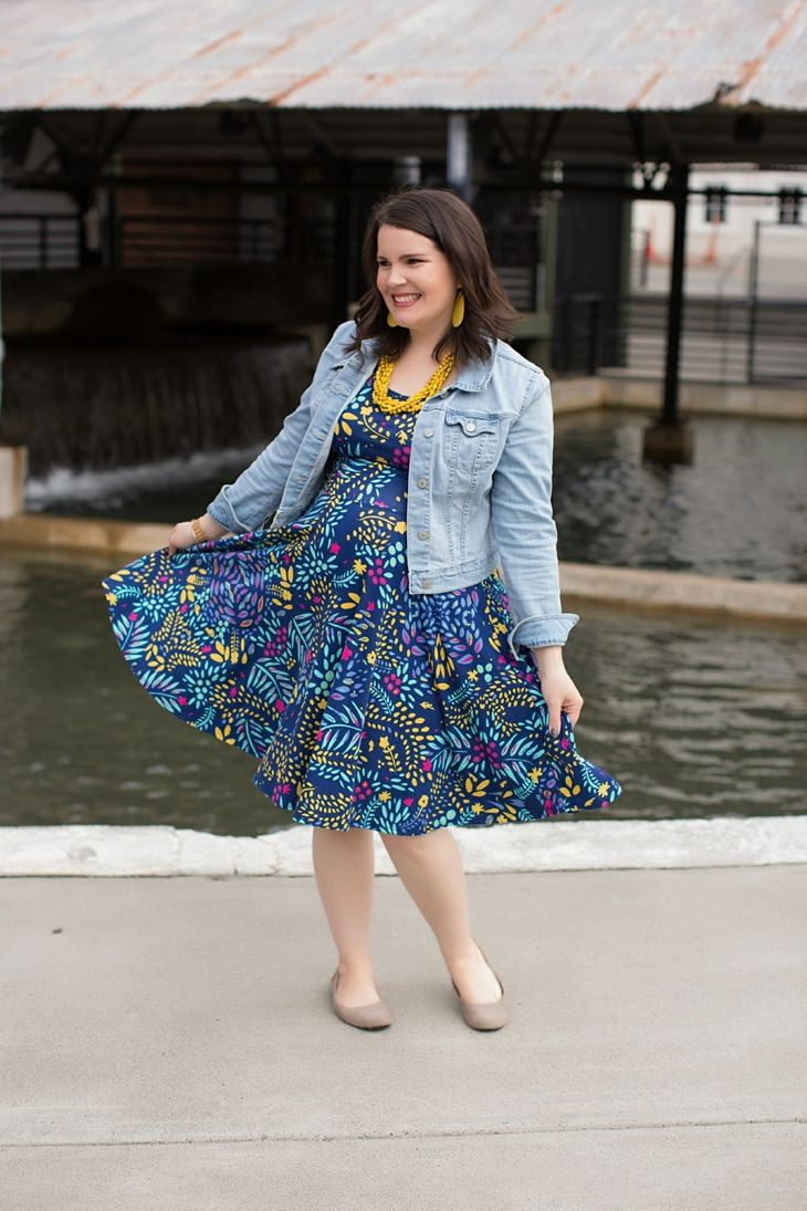 LulaRoe floral Nicole dress, denim jacket, yellow accessories, Nickel and Suede earrings, Root Collective shoes, maternity, fall, fashion (1)