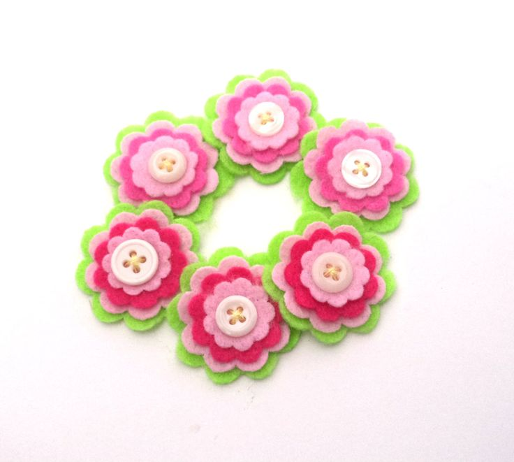 Felt Embellishments, Watermelon Inspired Felt Flowers, Pink Green and Raspberry Scrapbook Supply, Card Making, Headband Embellishments by Paperika on Etsy