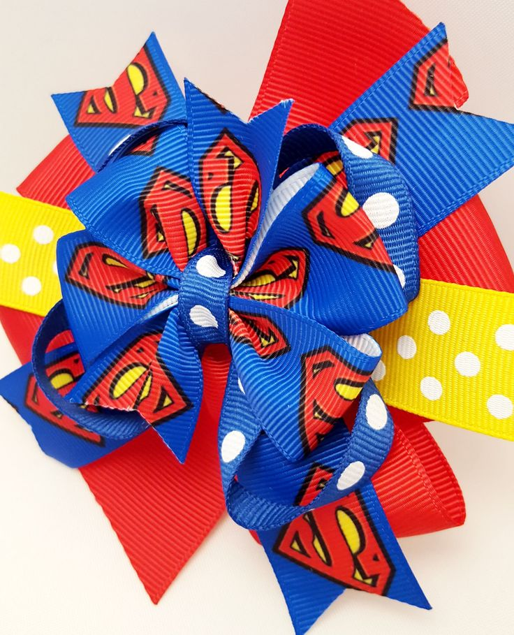 Girls Superman Hair bow- 4 inch Super Hero Pinwheel Bow on clip- Supergirl Hair Clip- Girls Hair bow- Red Blue Yellow- DC Comics Movie by ClamsAndaHamDog on Etsy