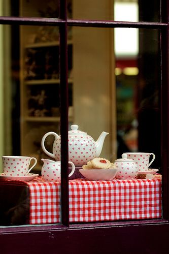 Tea Time. Can it get any better than this Polka dots, biscuits, tea pot and a window. Sigghhhhh.... I'm in heaven!