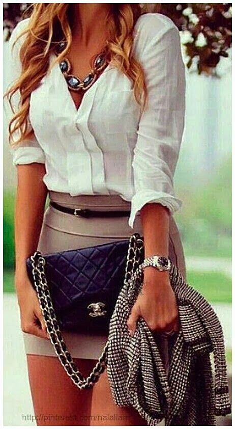 see more Amazing, White, Modern Blouse with Attractive, Grey Mini Skirt, Striped Jacket, Black Chanel Stylish Bag and Beautiful Accessories