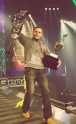 Jeff Hardy - TNA Champion and Best Wrestler of 2012 too bad he didn't get to keep the trophy had to break it :)