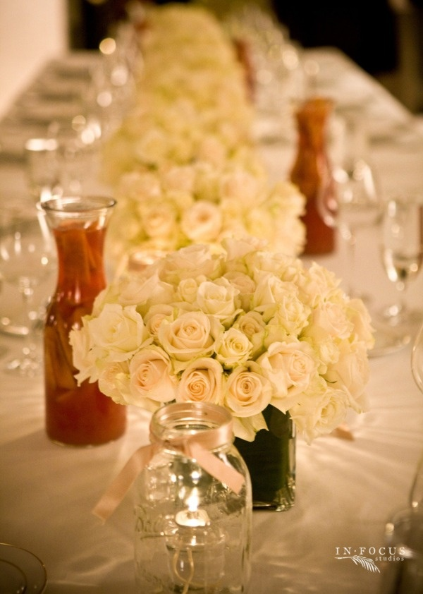 flowers and mason jar candles with satin ribbon (floral design by   kitanim, photo by in focus studios)