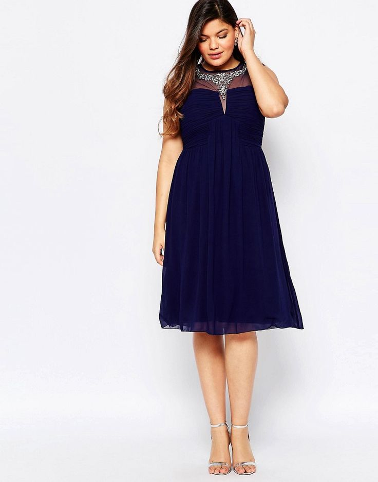 Image 4 ofLittle Mistress Plus Mesh Embellished Midi Dress