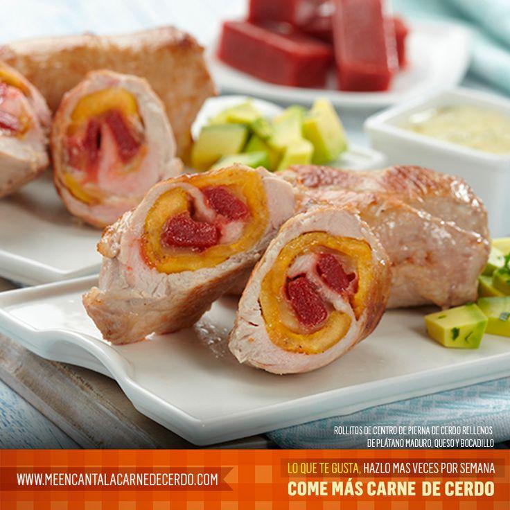 Rollitos de centro de pierna de cerdo rellenos de plátano maduro, queso y bocadillo. Tomado de: www.meencantalacarnedecerdo.com