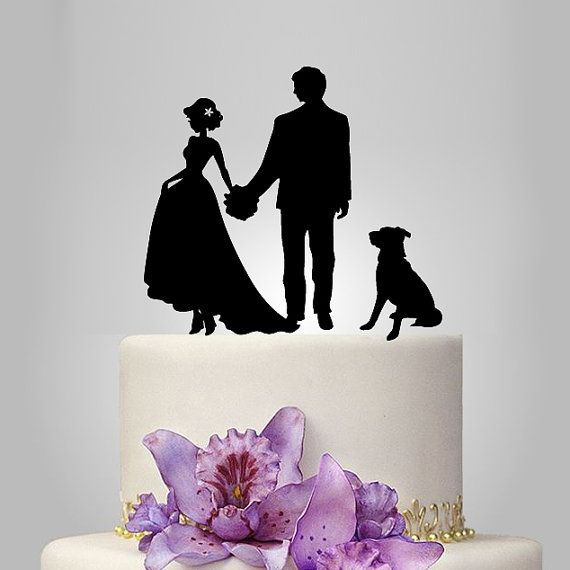 we draw your own photo andyour pet photo and create silhouette for Wedding Cake Topper, personalized wedding cake topper make unique your special