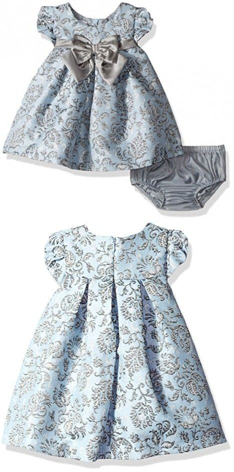 7ded6cc8d Bonnie Baby Baby Baby Girls Short Sleeved Brocade Float With Taffeta Bow,  Blue, 24