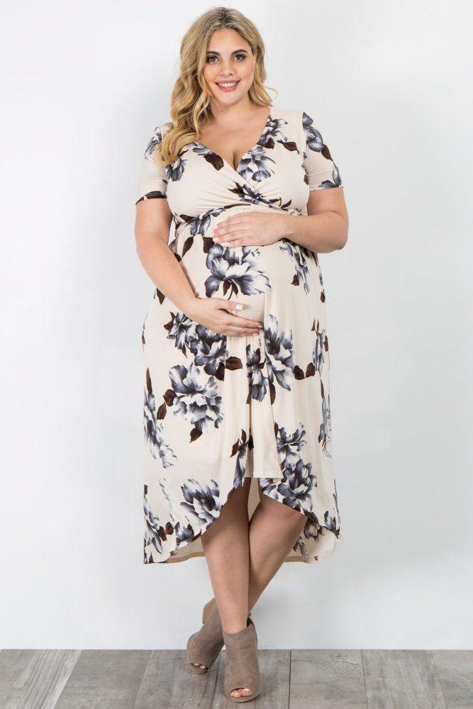 d4ad964d275 Ivory Floral Hi-Low Plus Maternity Wrap Dress