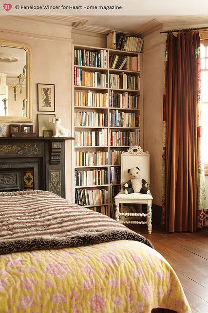 Book shelves - to right of fireplace