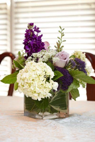 pretty purple/green/white centerpiece