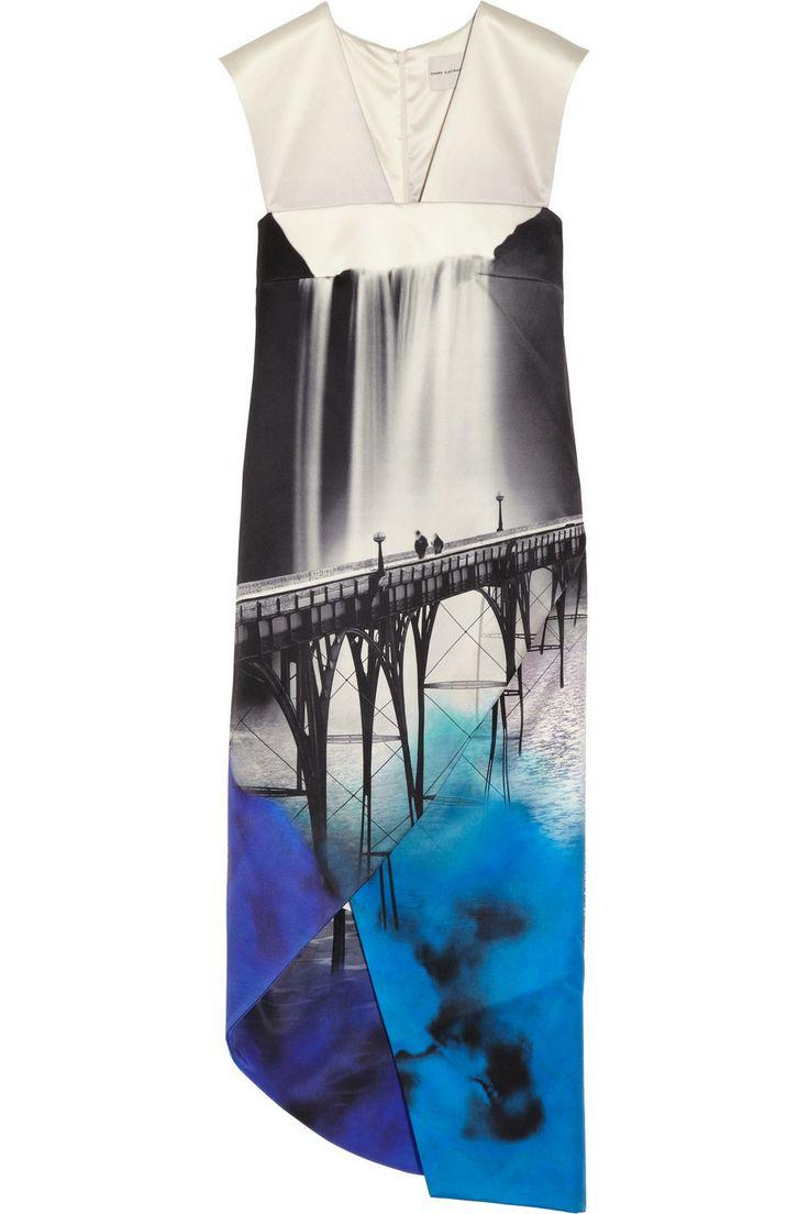 Mary Katrantzou|Sanfran wrap-effect printed satin dress|NET-A-PORTER.COM