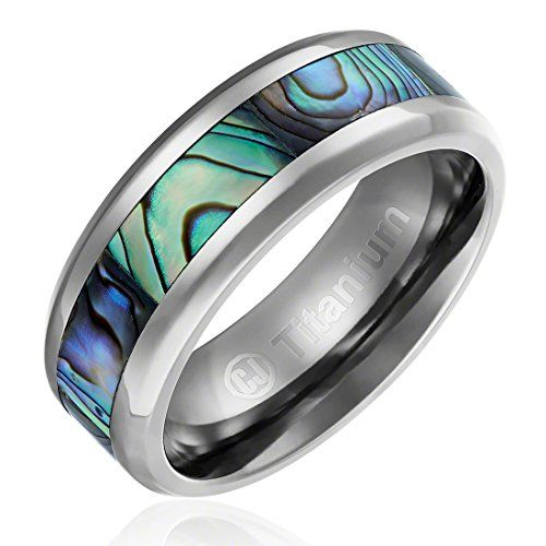 8MM Comfort Fit Titanium Wedding Band | Engagement Ring with Abalone Shell Inlay | Beveled Edges