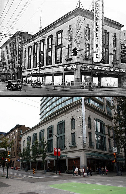 Vancouver Then & Now : Corner of Granville & Dunsmuir