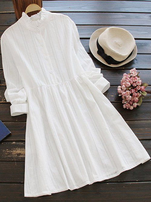 $22.99 Long Sleeve Ruffle Collar Shirt Dress - WHITE ONE SIZE