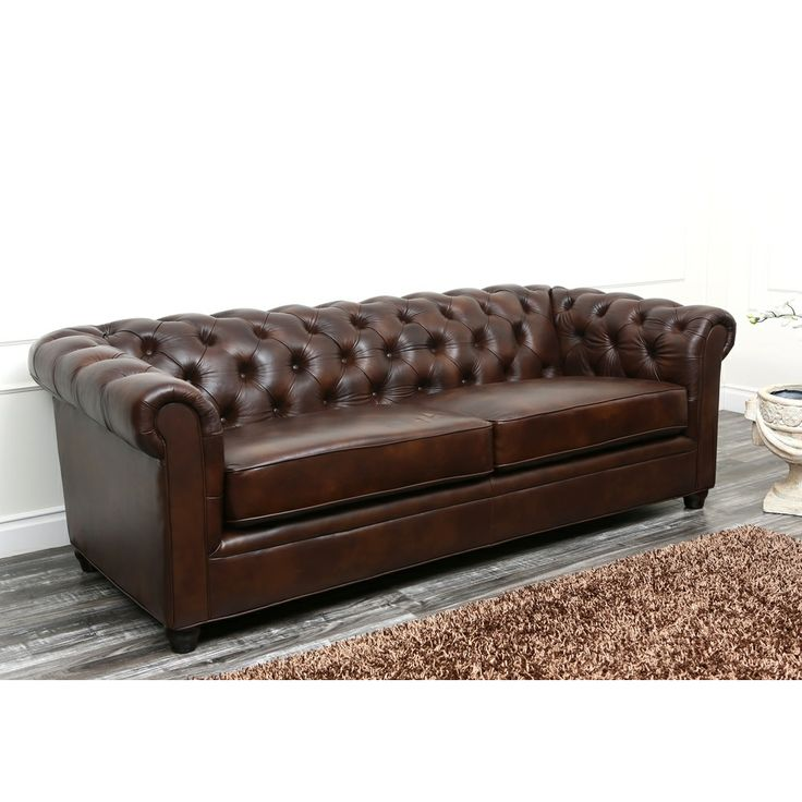 Abbyson tuscan chesterfield brown leather sofa by abbyson italian leather industrial and metals Leather chesterfield loveseat