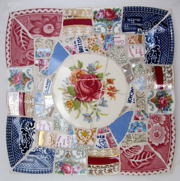 Gorgeous mosaics from broken vintage china.