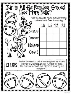 """A Holiday Math Freebie For You, From Me! FREE """"Reindeer Games Brain Busters"""" in this blog post - perfect for those antsy days before winter break!"""