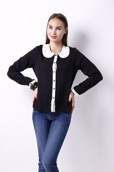 Classy white black top with very in peter pan collar. Create a fashion statement with this classy design for just @ 799 shop today @ www.snapdeal.com