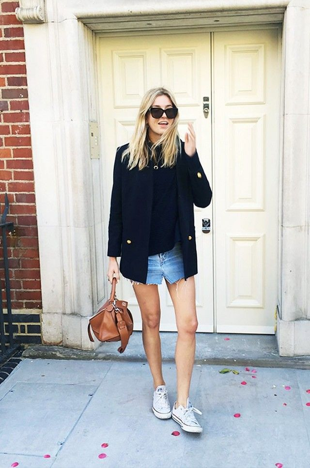On Camille Charriere: Acne sunglasses; Sashi Horn Pave Necklace ($65); Marques Almeida Asymmetric Ribbed Cotton-Blend Sweater ($285); Boutique Navy Relaxed Suit Blazer ($280); Loewe Puzzle Leather...