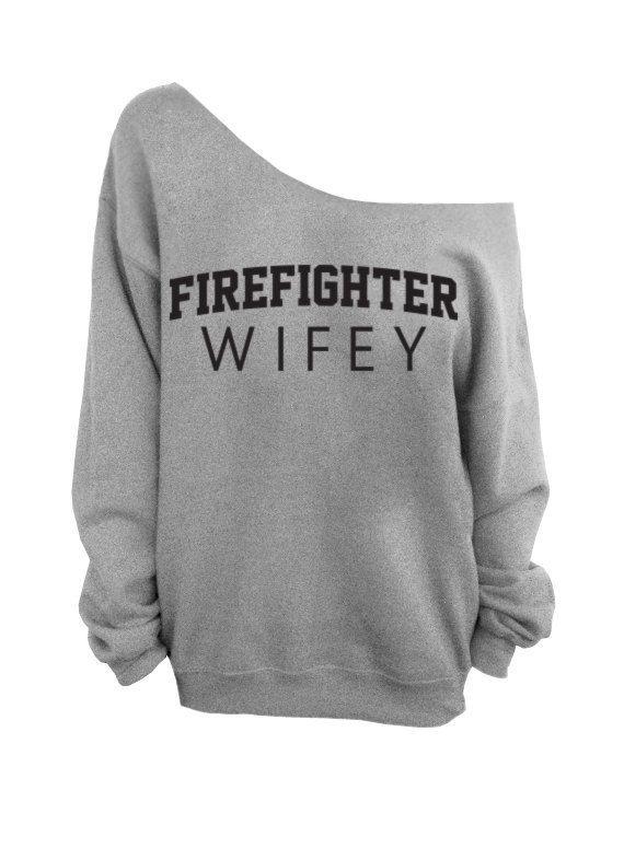 Firefighter Wifey   Gray Slouchy Oversized by DentzDesign on Etsy, $29.00