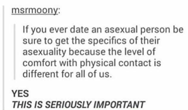 Dating asexuals. Also, this is good advice for anyone else. Who wants to be touched in a way they aren't comfortable with? No one.