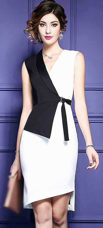 Fashion V-Neck Hit Color Belted Bodycon Dress