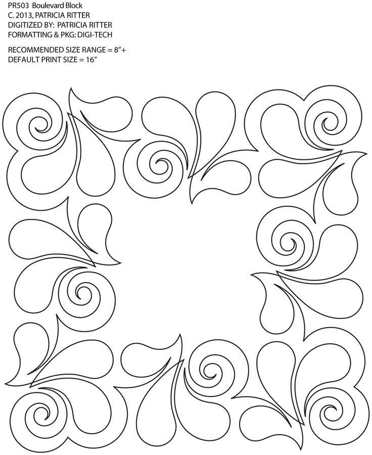 Continuous line quilting designs square