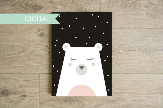 Polar bear with snow wall art printable Black and by Godiche