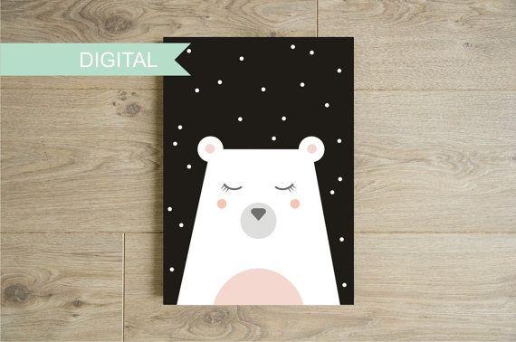 Affiche ours polaire et neige à imprimer - Poster animal noir et blanc tons pastels chambre d'enfants - Décoration murale - Illustration