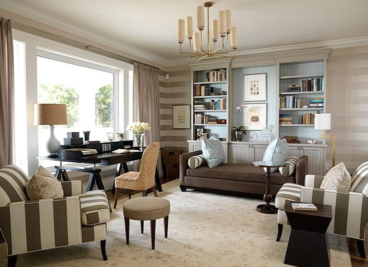 cool home office ideas mixed. Sarah Richardson Design - Dens/libraries/offices Romo Pari Linen Wallpaper, Striped Horizontal White And Gra. Cool Home Office Ideas Mixed O