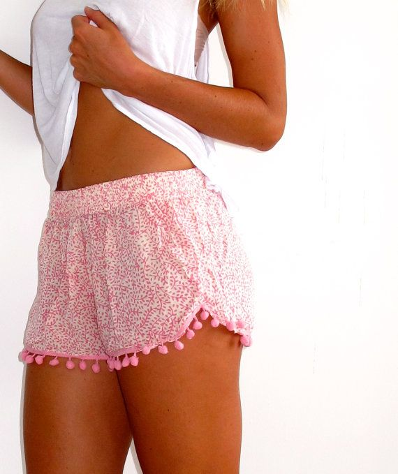 Pom Pom Shorts Pale Pink and White Mini Leaf Print by ljcdesignss
