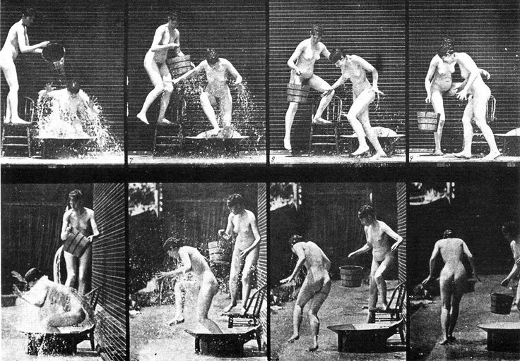 Eadward Muybridge:Woman pouring a bucket of water over another woman (1884-85)