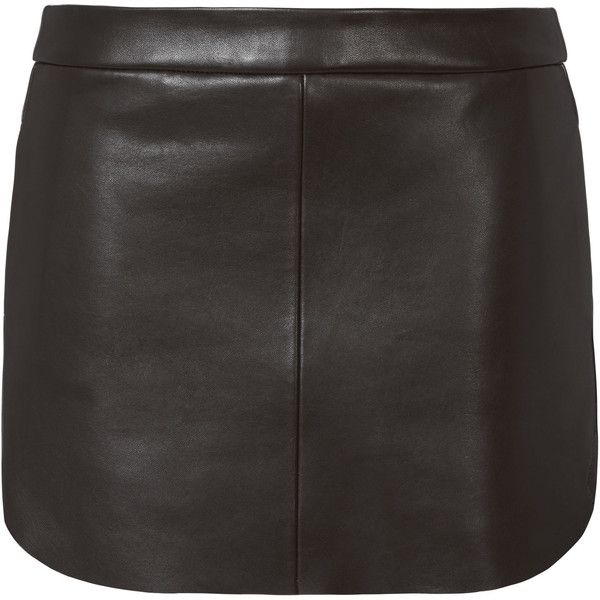 Rounded Hem Black Leather Mini Skirt (€425) ❤ liked on Polyvore featuring skirts, mini skirts, leather skirt, short leather skirt, leather miniskirt, short mini skirts and leather mini skirt