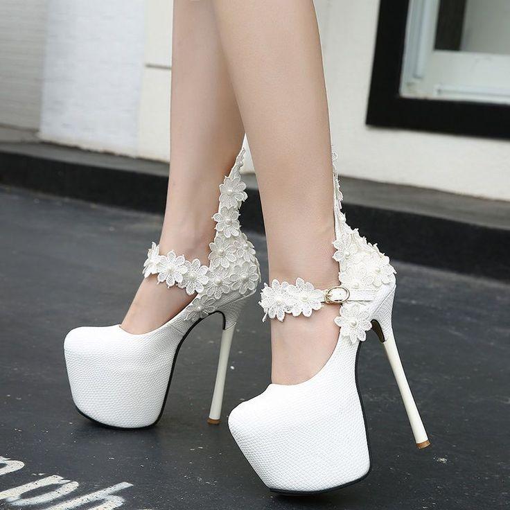 Wedding Shoes Bridal Wear White Lace Beads Platform Extra High Slim Heels Tails