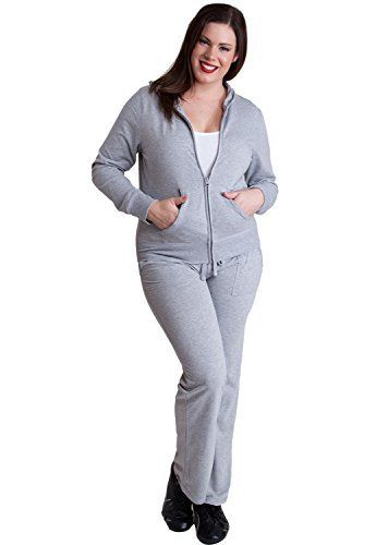 """Product review for Ladies Heather Gray Plus Size Zip-up Hoodie & Drawstring Sweatpants Set.  - This woman plus size set features a hoodie with a zipper front closure, two front pockets, and drawstring sweatpants with two front pockets, Approximately 25"""" in length, 60% Cotton, 35% Polyester, 5% Spandex.       Famous Words of Inspiration...""""I might repeat to myself..."""