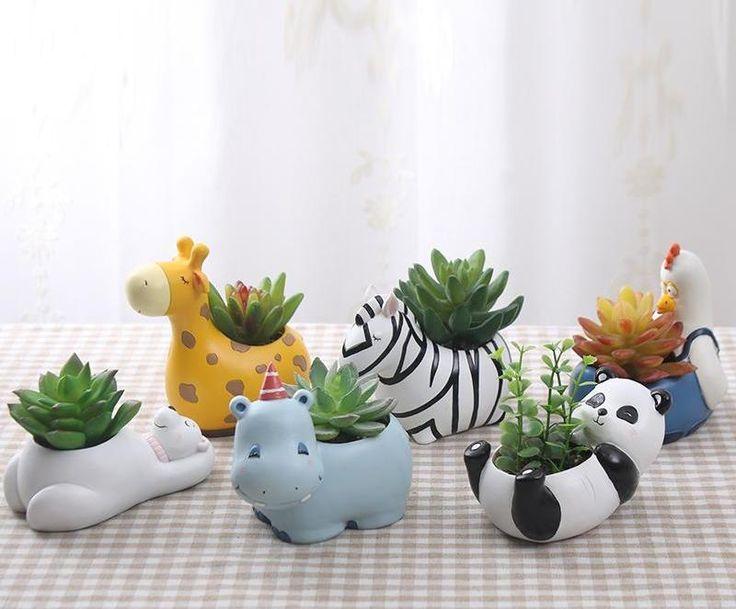 Cute Zebra Succulent Planter   Accessories for a trendy modern home. Cute animal succulent planters. Nursery decor. Kids room ideas. Trendy home decor. Animal nursery ideas.